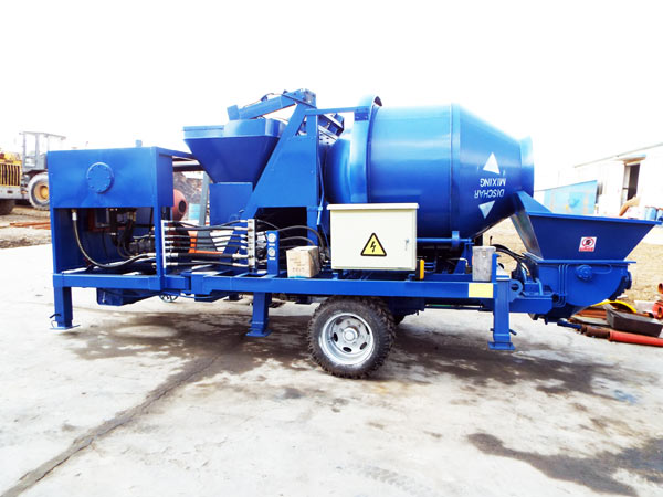 trailer concrete mixer with pump machine